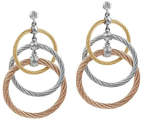 Alor Tricolor Cable Triple Drop Earrings with Diamonds