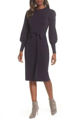 Eliza J Elilza J Long Sleeve Belted Sweater Dress