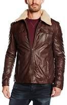 Mustang Leather Men's Long Sleeve Jacket - Brown -