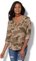 New York & Co. Soho Soft Shirt - Hi-Lo Zip Front - Camouflage Print