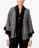 JM Collection Fake-Fur-Trim Marled Poncho, Created for Macy's