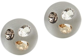 Alexis Bittar Crystal-Studded Lucite Button Earrings