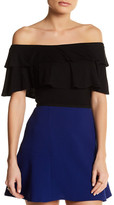 Blvd Tiered Ruffle Cold Shoulder Shirt
