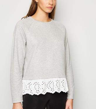New Look JDY Broderie Trim Sweatshirt