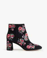 Ann Taylor Tatiana Floral Embroidered Suede Booties