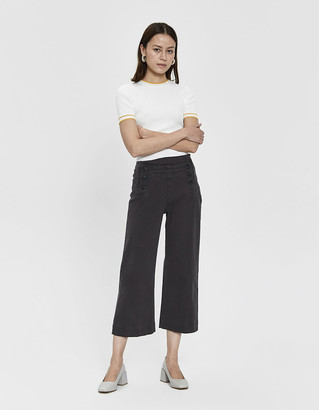 Farrow Women's Kathryn Cropped Sailor Pant in Charcoal, Size Small   Spandex