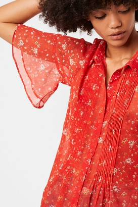 French Connenction Delmira Crinkle Floral Pintuck Shirt