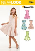 New Look 6360 Size A Girls' Sized for Tweens Dress Sewing Pattern, Multi-Colour