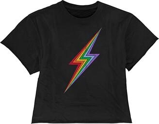 The Original Retro Brand Kids Rainbow Lightning Raw Edge Slub Slightly Cropped Tee (Big Kids) (Black) Girl's Clothing