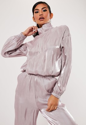 Missguided Pink Co Ord Shimmer Half Zip Jacket