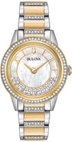 Zales Ladies' Bulova Turnstyle Crystal Accent Two-Tone Watch with Mother-of-Pearl Dial (Model: 98L245)