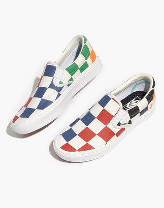 Madewell Vans Unisex Classic Slip-On Sneakers in Big Checkerboard Canvas