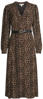MICHAEL Michael Kors Leopard-Print Belted Shirtdress