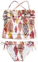 Pilyq Girls' Diamond Print Ruffle Tankini - Sizes 8-16