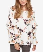 Sanctuary Bianca Printed Ruffle-Sleeve Top
