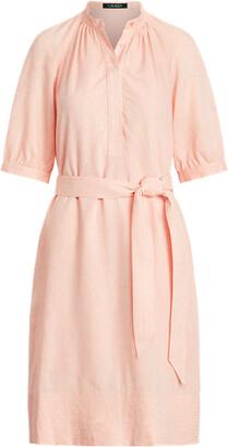 Ralph Lauren Linen Puff-Sleeve Shirtdress