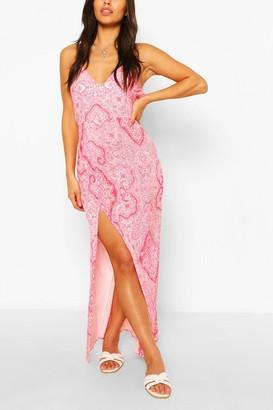 boohoo Petite Paisley Print Split Maxi Dress