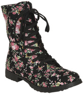 Wet Seal WetSeal Floral Canvas Combat Boot Black