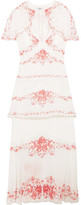 Vilshenko Maya Convertible Floral-print Silk-jacquard Midi Dress - White