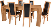 Living Collection Warwick Oak Dining Table & 6 Chairs - Black
