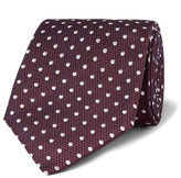 Dunhill - 8cm Polka-dot Mulberry Silk And Cotton-blend Jacquard Tie