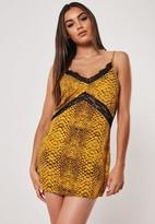 Missguided Petite Yellow Snake Print Lace Insert Slip Dress