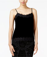 Bar III Lace-Trim Velvet Camisole, Only at Macy's