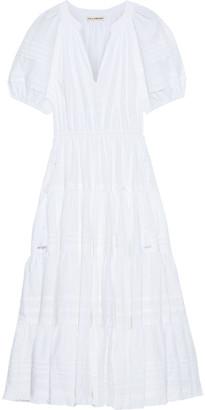 Ulla Johnson Claribel Tiered Pintucked Cotton-poplin Midi Dress