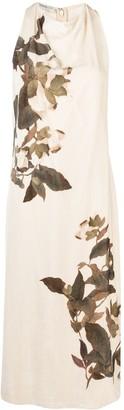 Vince Floral-Print Ruched-Neck Dress