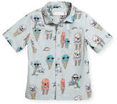 Stella McCartney Rowan Ice Cream Monster-Print Button-Down Shirt, Size 12-36 Months