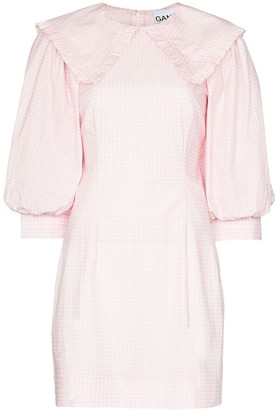 Ganni x Browns 50 puff sleeve gingham dress