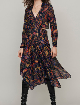 Maje Printed-cotton scarf dress