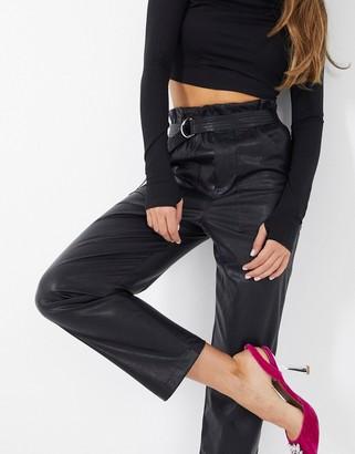 NA-KD paperbag waist PU trousers in black