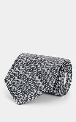 Salvatore Ferragamo Men's Interlocking-Gancio-Print Silk Twill Necktie - Gray