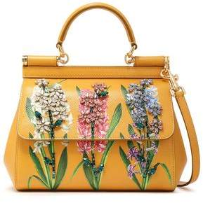 Dolce & Gabbana Crystal-embellished Floral-print Textured-leather Shoulder Bag