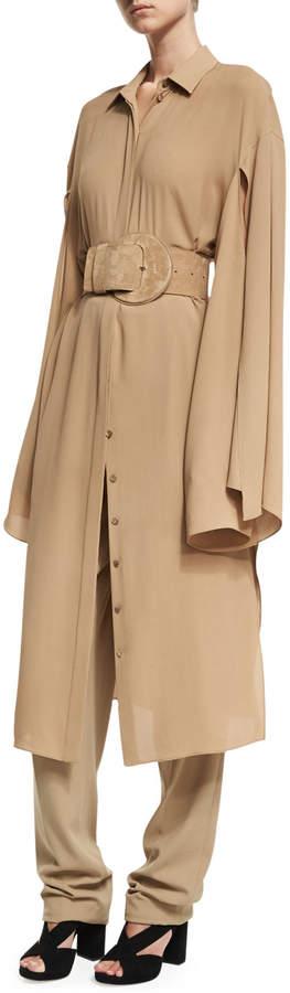 Michael Kors Silk Georgette Slit-Sleeve Midi Shirtdress