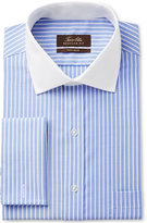 Tasso Elba Men's Classic/Regular Fit Non-Iron Blue Twill Bar Stripe French Cuff Dress Shirt with Contrast Collar, Only at Macy's