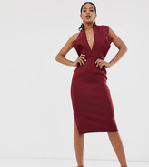 Asos DESIGN Tall halter origami side zip pencil midi dress