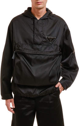 Prada Men's Nylon Pullover Hoodie