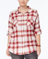 Planet Gold Trendy Plus Size Lace-Trim Plaid Shirt