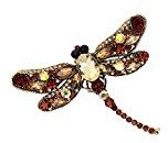 Happy Hours - Crystal Rhinestone Dragonfly Brooch / Vintage Style Natural Insect Shape Pins for Sweater,Shirt and Suit (Yellow)