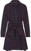 Maje Checked Cotton-flannel Shirt Dress - Navy
