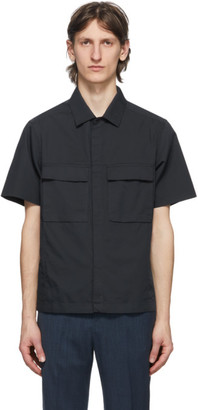 Ermenegildo Zegna Navy Cotton Silk Short Sleeve Shirt
