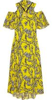 Ellery •ellery• Cold-Shoulder Printed Silk-Blend Maxi Dress