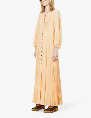 Chloé Pleated silk-crepe midi dress