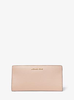 MICHAEL Michael Kors MK Large Crossgrain Leather Slim Wallet - Sftpink/fawn - Michael Kors