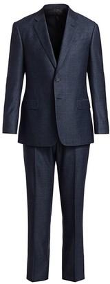 Giorgio Armani Single-Breasted Tonal Plaid Wool Suit