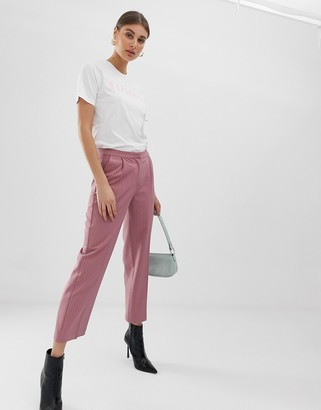 Pieces flare pinstripe trousers-Pink