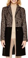 Liz Claiborne Long-Sleeve Tweed Colorblock Coat