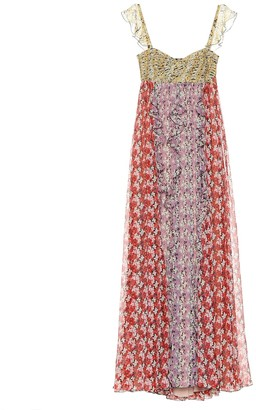 Valentino Floral-printed silk gown